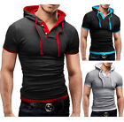 Muscle Men's Slim Fit Short Sleeve Shirts Hooded Tee Tops Hoodies Casual T-shirt