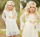 Lace Flower Girl Dress Pageant Party Bridesmaid Princess Communion Dresses