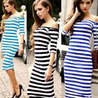 Summer Women Half sleeve Evening Party Cocktail Striped Casual Short Mini Dress