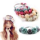 Women Wedding Big Flower Wreath Crown Headband Floral Garlands Hair band NEW