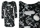 NEW WOMENS BLACK AND WHITE SKULL ROSE PRINT LONG SLEEVE BODYCON DRESS SIZE 6-16