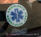 Ambulance First Responder with Star of Life - Round Self Adhesive Window Sticker