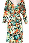 New Abstract Floral Print Vintage 40's Style V-Neck Jersey Tea Dress 10 - 16