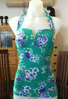 Seafolly Rococo Rose V Front Singlet Tankini Top Envy Green RRP $139.95 Sz 8 Aus