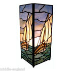"""TIFFANY STYLE TABLE LAMP 11"""" SAILING BOAT DESIGN 5""""SQUARE GLASS BUY PAIR SAVE10%"""
