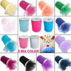 "5 MIX Tutu Tulle Roll 6"" x 25/100 yards Soft Netting Graft Fabric Nylon Wedding"