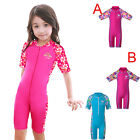 Girls Short Sleeve Swimwear 3-10Y Kids Swimming Suits Flower Costumes One Piece