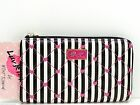 Luv Betsey Betsey Johnson Lizzi Zip Wallet Black Pink White Striped Clutch New!