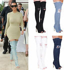 LADIES WOMENS DENIM OVER THE KNEE BOOTS RIPPED PEEP TOE HIGH HEEL FASHION SHOES