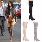 LADIES WOMENS THIGH HIGH BOOTS HIGH HEEL FASHION STRETCH TIE PARTY CASUAL SHOES