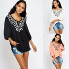 726 Women's Embroidered crew neck 3/4 sleeve Top White Black Coral size S M L