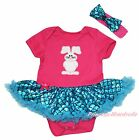 Easter Bunny Pink Bodysuit Bling Peacock Blue Fish Scale Girl Baby Dress NB-18M