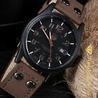 Men's Military Leather Date Quartz Analog Army Casual Dress Wrist Watches