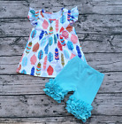 Girls Feather Flutter Pearl Top Aqua Icing Ruffle Shorts Boutique Outfit 12M-6