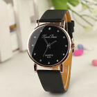 Fashion Women Crystal Classic Stainless Steel Quartz Leather Dress Wrist Watch
