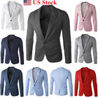Fashion Mens Casual Dress Slim Fit Stylish One Button Suit Blazer Jackets Coats