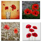 BN~Poppies Red Floral CeramicTile Mosaic Craft Wall Decor Table Coaster~Stand