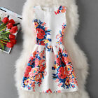 Summer Women's Unique Floral Printing Stripe Sleeveless Slim A line Party Dress