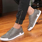 Men's Casual Leather Shoes England Breathable Recreational Lace up Loafers New