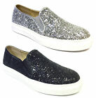 Womens Ladies Flat Slip On Glitter Skater Plimsolls Pumps Sneakers Trainers Size