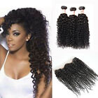 3 Bundles/300g Peruvian Curly Human Hair Weft w /360 Lace Band Frontal Closure