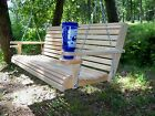 5ft Cypress Deluxe Roll Wood Porch Swing finished w/ cupholders and springs.