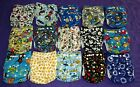 Lot of 15 New Boys Tagless ALVA Cloth Pocket Diapers With Double Gussets
