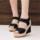 Women's Summer Fashion Wedge Heels Lace Sandals Party Platform High-heeled Shoes