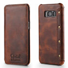 For Samsung Galaxy S8/S8 Plus Genuine Leather Retro Flip Wallet Case Card Cover
