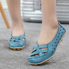 Womens Casual Leather Ballet Flats Shoes Oxfords Hollow Lady Peas Lazy Loafers