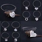 Family Sister Mother Heart Paws Pet Dog Tag Bangle Bracelet Charm Jewelry Women