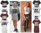 New Women Ladies Black BOY BYE Turn Up Sleeve T-Shirt Top Baggy Oversized Dress