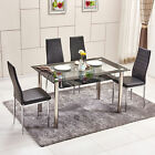 2 Tier Dining Table with Large Storage Black Faux Leather Chairs  2/4/6  Seat