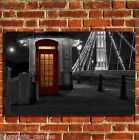 LONDON SKYLINE PHONE BOX CANVAS WALL ART BOX PRINT PICTURE SMALL/MEDIUM/LARGE