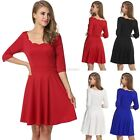 Meaneor Women Lace Neck Pleated Dress Medium Sleeve High Waist Solid Slim CYBD01