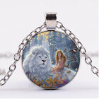 Photo Cabochon Glass necklace Silver popular pendants(Fairy and lion)