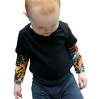 Wild Rose Baby Tattoo Sleeve Shirt Boy Black One-piece Bodysuit, Flames / Tiger