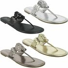 LADIES WOMENS SPOT ON FLAT TOE POST MULE CASUAL SUMMER SANDALS F0391