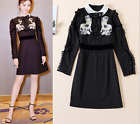 2017 Occident hot sale agaric long sleeve trendy embroidery fashion dress SMLXL