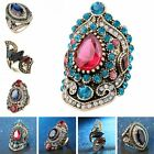 Retro Women Turkish Jewelry Gold Plated Crystal Rhinestone Sapphire Wedding Ring