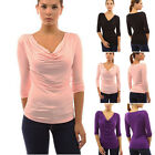 Womens 3/4 Sleeve Cowl Neck Fashion Blouse Shirt Top Evening Clubwear Tops New
