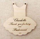 Wooden Personalised Wedding Dress  Favour - Bridesmaid Thank you Dress Tags