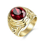 Original Turkish Red Gemstone Gold Rings Stainless Steel Size 8-12 Brand New