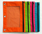Pencil Pouch for 3-Ring Binder Choose Orange Green Pink Blue Red Black or Purple