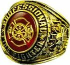 PROFESSIONAL FIREFIGHTER ETCHED AUSTRIAN CRYSTAL SIGNET RING 18K (GP) & RHODIUM