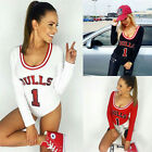 Women Fashion Long Sleeves Bodycon T Shirt Top Short Jumpsuit Sports Style
