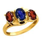 1.57 Ct Oval Blue Sapphire Red Garnet 18K Yellow Gold 3-Stone Ring