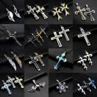 Mens Women Stainless Steel Necklace Crucifix Cross Skull Pendant Chain Jewelry