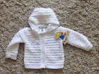 BABY GIRLS LOVELY WHITE HOODED DIAMANTE HEART CARDIGAN age 0-3  3-6  6-9 MONTHS