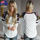 Women Floral Printed Cotton Round Neck Blouse Long Sleeve Pullover Tops T Shirts